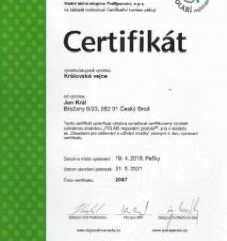 Certifikát regionální produkt Polabí